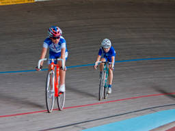 Young track cyclists compete in a veladrome