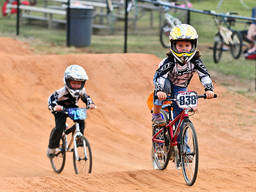 Young BMXers during a race.
