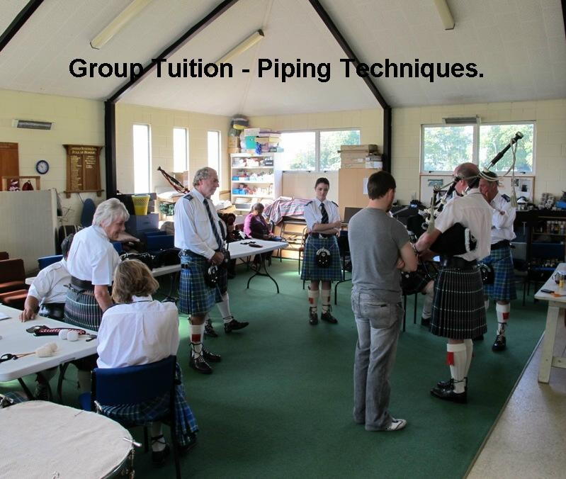 A pipe band class getting piping technique tuition.
